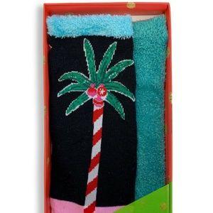 HUE Candy PalmTree Footsie Gift Socks Gift Box NEW